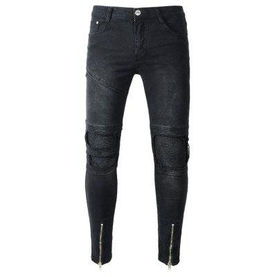 Male Slim Fit Biker Jeans with Distressed Details