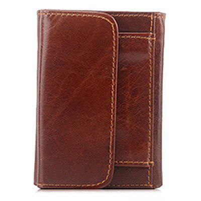 Men Fashion Solid Color Trifold Leather Wallet