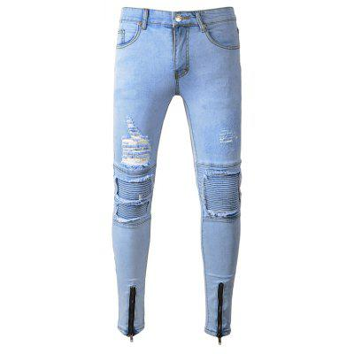 Male Casual Slim Fit Jeans with Distressed Details