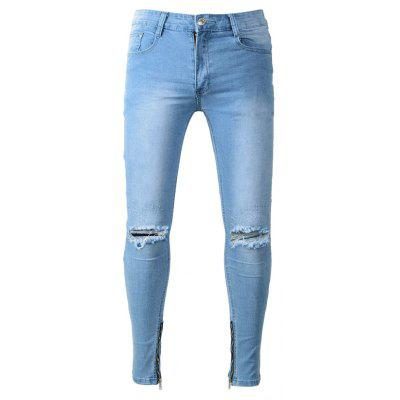Male Fashion Slim Fit Ripped Jeans