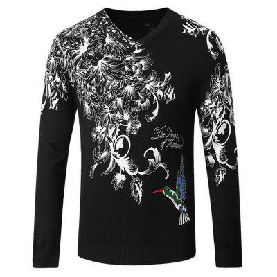 Casual Flowers Bird Printing Sweater