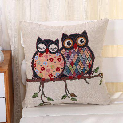 LAIMA Square Pillowcase Creative Owls Pattern Pillow Cover
