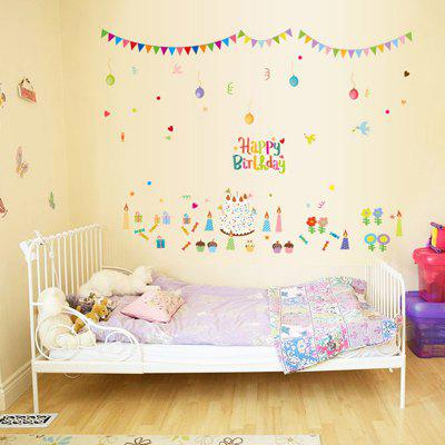 Buy LAIMA QT0533 Birthday Cake Pattern Wall Sticker, COLORMIX, Home & Garden, Home Decors, Wall Art, Wall Stickers for $9.09 in GearBest store