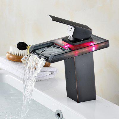 LINGHAO HL - 259 LED Water Flow Bathroom Sink FaucetFaucets<br>LINGHAO HL - 259 LED Water Flow Bathroom Sink Faucet<br><br>Battery Included: No<br>Body Sprays Included: No<br>Brand: LINGHAO<br>Cold and Hot Switch: Yes<br>Drain Included: Yes<br>Faucet Body Material: Brass<br>Faucet center: Single Hole<br>Faucet Features: LED indicator,Waterfall<br>Faucet Spout Material: Glass<br>Faucet Type: Bathroom Sink Faucet<br>Handle Material: Zinc Alloy<br>Handshower Included: No<br>Handshower Material: Brass<br>Home Finish: Oil-rubbed Bronze<br>Installation Hole Diameter ( cm ): 3.2 - 3.5cm<br>Installation Holes Handles: Single Handle One Hole<br>Installation Type: Centerset<br>LED Power Source: Water Flow<br>Package Contents: 1 x Pack of Stationary Fittings, 2 x Water Inlet Pipe, 1 x Drainer, 1 x English User Manual<br>Package size (L x W x H): 39.00 x 22.00 x 13.00 cm / 15.35 x 8.66 x 5.12 inches<br>Package weight: 1.6000 kg<br>Product weight: 1.5000 kg<br>Rain Shower Included: No<br>Rain Shower Material: Brass<br>Shower Arm Included: No<br>Style: Art Deco<br>Valve Included: Yes<br>Valve Type: Ceramic Valve<br>Water Pressure: 12
