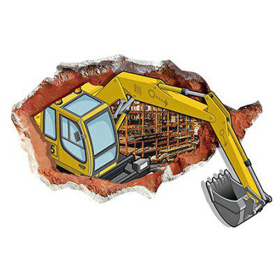 LAIMA 3D Effect Excavator Wallpaper Removable Wall Sticker