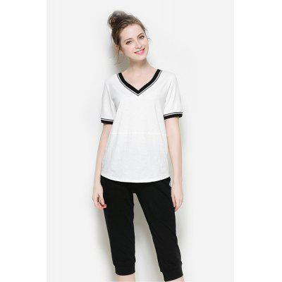 Loose T-shirt and Straight Cropped Pants Tracksuits for Women