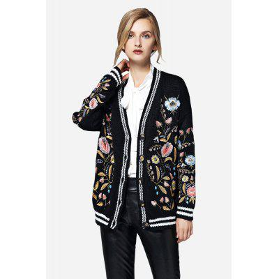 Flowers Embroidery Front Button Cardigan for Women