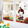 LAIMA Cartoon Pastoral Girl Pattern Wall Sticker - COLORFUL