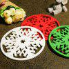 Snow Flower Pattern Tableware Decorative Coaster 2pcs - WHITE