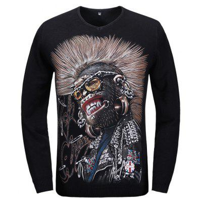 Cool Punk Monkey Pattern V Neck Long Sleeve Sweater
