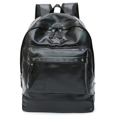 Buy BLACK Men Trendy PU Laptop Backpack for $13.60 in GearBest store