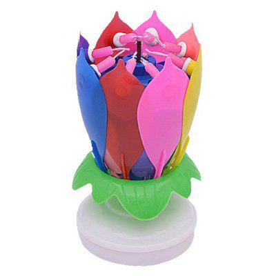 Electric Birthday Candle Music Lotus Flower for Cake