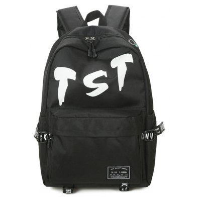 Buy BLACK Men Trendy Letter Printed Nylon Backpack for $11.97 in GearBest store
