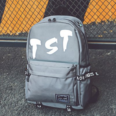Buy GRAY Men Trendy Letter Printed Nylon Backpack for $11.97 in GearBest store