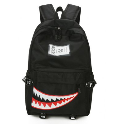 Buy BLACK Men Trendy Pattern Printed Nylon Backpack for $11.97 in GearBest store