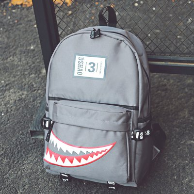 Buy GRAY Men Trendy Pattern Printed Nylon Backpack for $11.97 in GearBest store