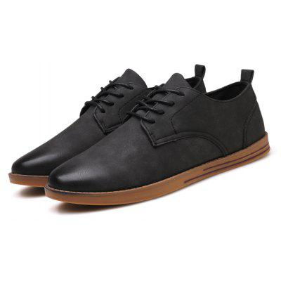 Masculino Retro Stylish Brush Color Casual Leather Shoes