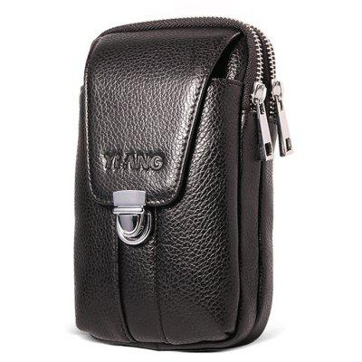 New Style Genuine Leather Zipper Phone Waist Bag for Men