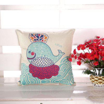 LAIMA Square Printed Pillowcase Cartoon Whale Pillow Cover