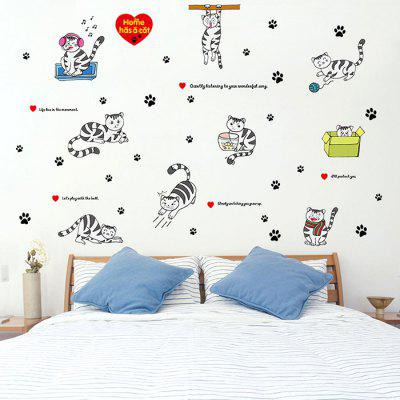 Buy COLORFUL LAIMA DIY Home Decor Cute Cat Wallpaper Wall Sticker for $6.72 in GearBest store