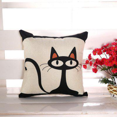 LAIMA Soft Square Pillowcase Fashion Cat Printed Pillow Cover