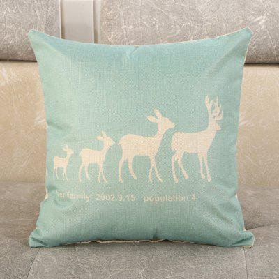 LAIMA Square Pillowcase Creative Deer Printed Pillow Cover
