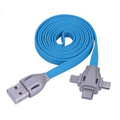 3 in 1 2.1A Type-C / Micro USB / 8 Pin Combo Flat USB Cable
