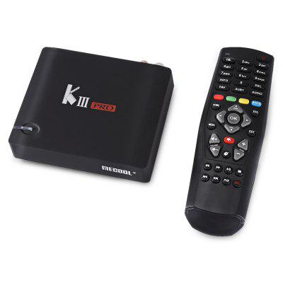 MECOOL KIII PRO Hybrid  DVB TV Box 3GB DDR3 + 16GB EMMCTV Box<br>MECOOL KIII PRO Hybrid  DVB TV Box 3GB DDR3 + 16GB EMMC<br><br>Audio format: MP3, APE, DDP, FLAC, HD, OGG, TrueHD, WAV, WMA, AAC<br>Bluetooth: Bluetooth4.0<br>Brand: MECOOL<br>Color: Black<br>Core: Octa Core<br>CPU: Amlogic S912<br>Decoder Format: H.265<br>External Subtitle Supported: No<br>GPU: ARM Mali-T820MP3<br>HDMI Function: CEC<br>HDMI Version: 2.0<br>Interface: TF card, DVB-T2, USB2.0, SPDIF, RJ45, HDMI, AV, DVB-S2<br>Language: Multi-language<br>Max. Extended Capacity: 128G<br>Model: KIII PRO<br>Other Functions: 3D Games, 3D Video, DLNA, Miracast, NTSC, PAL<br>Package Contents: 1 x MECOOL KIII PRO TV Box, 1 x Remote Control, 1 x Power Adapter, 1 x English Manual<br>Package size (L x W x H): 22.90 x 15.60 x 6.80 cm / 9.02 x 6.14 x 2.68 inches<br>Package weight: 0.8200 kg<br>Photo Format: JPEG, BMP, GIF, TIFF, PNG<br>Power Adapter Output: 12V 1A<br>Power Consumption.: 8W<br>Power Supply: Charge Adapter<br>Power Type: External Power Adapter Mode<br>Processor: Amlogic S912<br>Product size (L x W x H): 13.00 x 12.00 x 3.20 cm / 5.12 x 4.72 x 1.26 inches<br>Product weight: 0.2600 kg<br>RAM: 3GB<br>RAM Type: DDR3<br>Remote Controller Battery: 2 x AA ( not included )<br>RJ45 Port Speed: 1000M<br>ROM: 16G<br>System: Android 6.0<br>System Bit: 64Bit<br>Type: TV Box<br>Video format: RM, RMVB, TS, VOB, WMV, MOV, MKV, MPEG, MPG, ISO, 4K, FLV, DAT, AVI, ASF<br>WiFi Chip: BCM4335