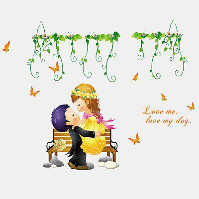 LAIMA QT0445 Cartoon Creative Wedding Couple Wall Sticker