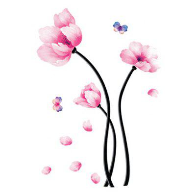 Buy PINK LAIMA DIY Home Decor Pink Flowers Wallpaper Wall Sticker for $7.08 in GearBest store