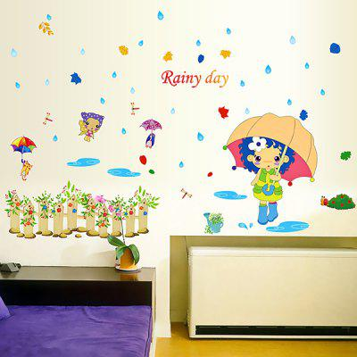 Buy COLORFUL LAIMA DIY Home Decor Rainy Day Wallpaper Wall Sticker for $7.08 in GearBest store