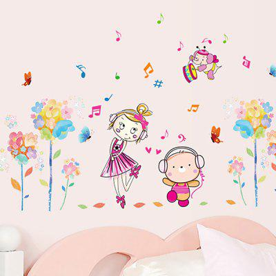 Buy COLORFUL LAIMA Decor Creative Flower Girl Wallpaper Wall Sticker for $7.08 in GearBest store