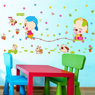 Buy COLORFUL LAIMA DIY Cartoon Animal Wallpaper Wall Sticker for $7.08 in GearBest store