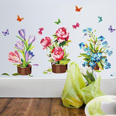 Buy COLORFUL LAIMA DIY Home Decor Pot Flower Wallpaper Wall Sticker for $7.08 in GearBest store