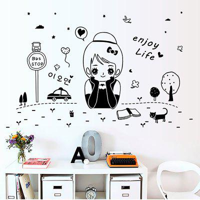 Buy BLACK LAIMA DIY Home Decor Cartoon Girl Wallpaper Wall Sticker for $7.78 in GearBest store
