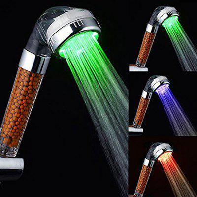 Seven Colors Changing Automatically Bathroom Temperature Control Shower Head with LED