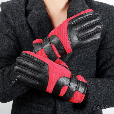 Male Texting Driving Thick Warm Striped Outdoor Gloves