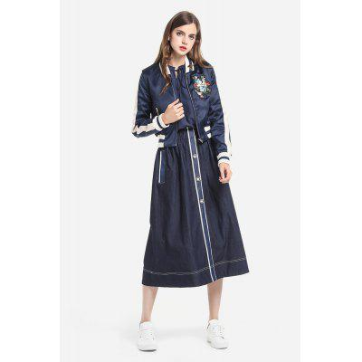Stand Collar Embroidery Short Jacket for Women