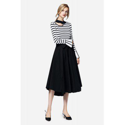 Keyhole Neck Striped Flared Sleeves Sweater for Women