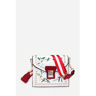 Casual Colorful Strap Embroidery Solid Crossbody Bag