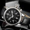 MG.ORKINA W007 Genuine Leather Band Men Watch - BLACK