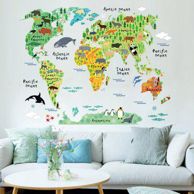 Laima diy cartoon animals world map wallpaper wall sticker 742 laima cartoon animals world map wallpaper removable waterproof wall sticker home decoration gumiabroncs Gallery