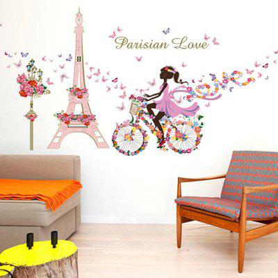 Buy COLORFUL LAIMA DIY Eiffel Tower Girl Wallpaper Wall Sticker for $9.09 in GearBest store
