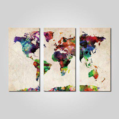 JOY ART Abstract World Map Print Painting Modern Framed Canvas Picture for Wall Decor 3PCS