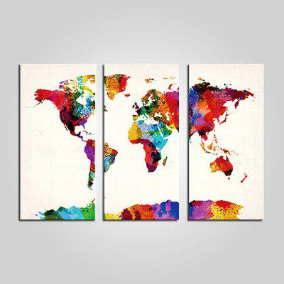 Buy COLORMIX JOY ART Colorful World Map Framed Canvas Print 3PCS for $44.23 in GearBest store