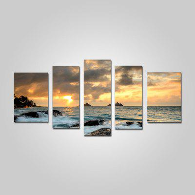 Buy COLORMIX JOY ART Seaside Sunrise Print Framed Canvas Painting 5PCS for $52.10 in GearBest store