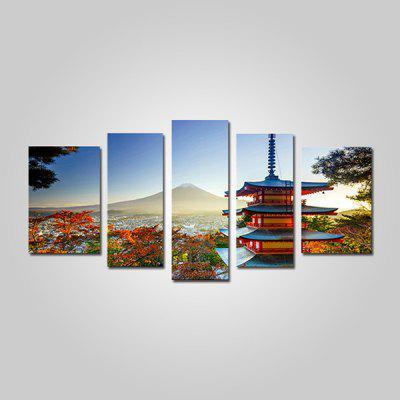 JOY ART Mount Fuji Print Painting Modern Framed Canvas Picture for Wall Decor 5PCS