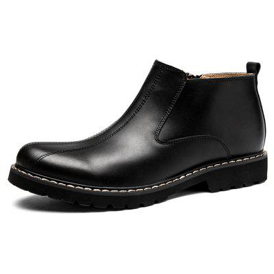 Buy BLACK 39 Men Side Zipper Stitching Leather Ankle Boots for $48.61 in GearBest store