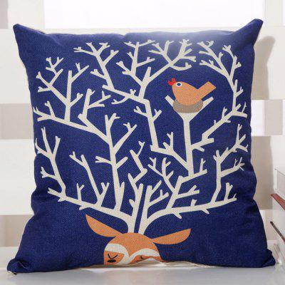 LAIMA BZ004 - 7 Flax Throw Pillow Case Cartoon Bird Nest Pattern Square Decorative Pillowcase Cushion Cover