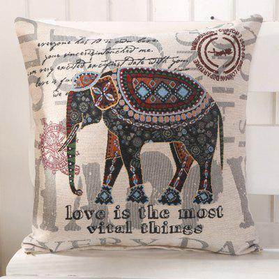LAIMA BZ003 - 3 Flax Throw Pillow Case Bohemian Elephant Pattern Square Decorative Pillowcase Cushion Cover